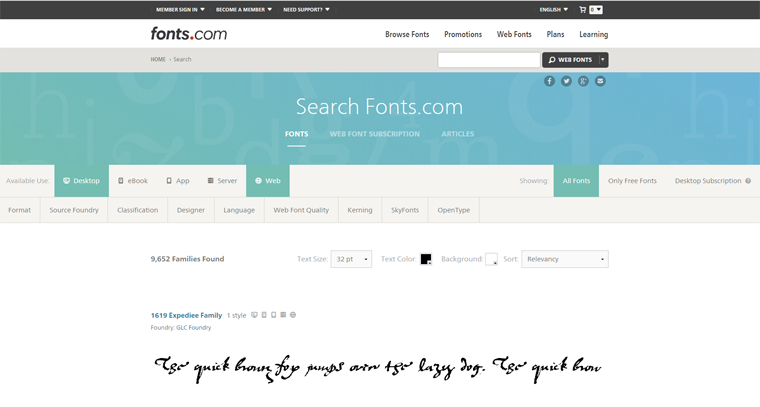 Using Search Filters On Fonts.com