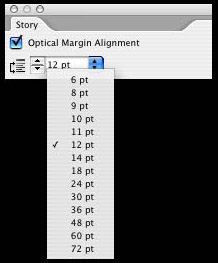 Optical margin alignment in InDesign