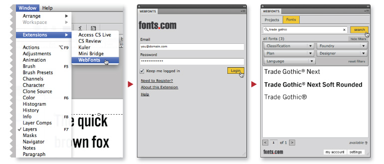 Web Fonts Extension Panels