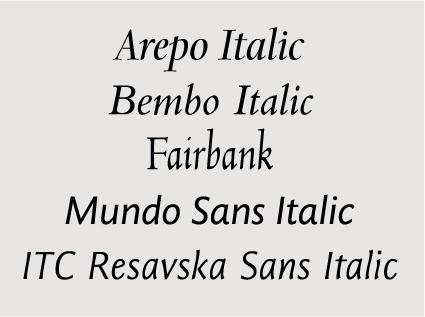 Italics Fonts