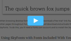 Using SkyFonts with your Fonts.com Subscription