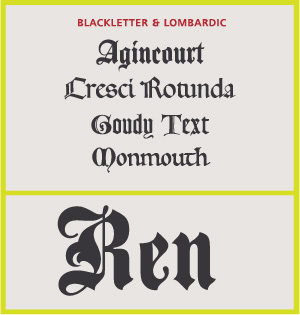 Blackletter & Lombardic Scripts