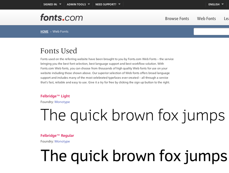 Web Fonts Colophon